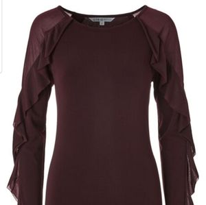 Burgundy Ruffled Long sleeves